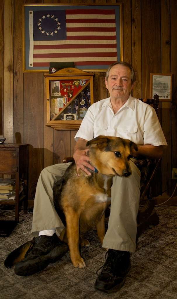 Vietnam Vet Gary Hedges and his constant companion, Miller