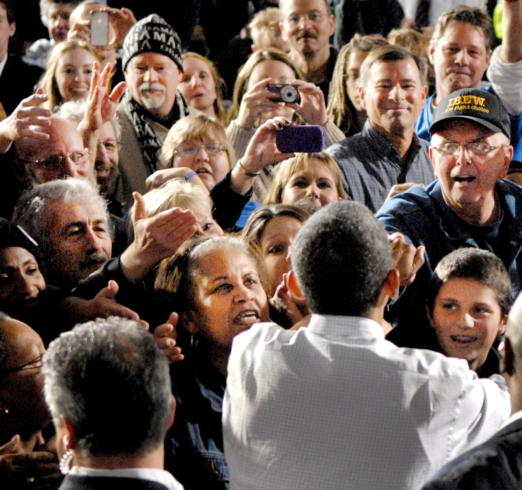 President Obama greets supporters during a campaign stop in Mentor