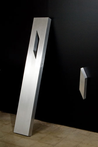"""Timeline"" by Lori Cozen-Geller, brushed aluminum 9"" x 60"" x 3"" plus one small parallelogram, 2 of 15"