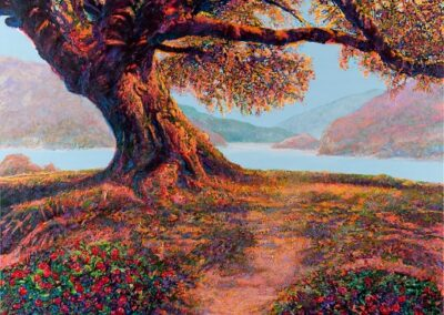 """Oak Tree with Lake"" by Kent Butler, acrylic"