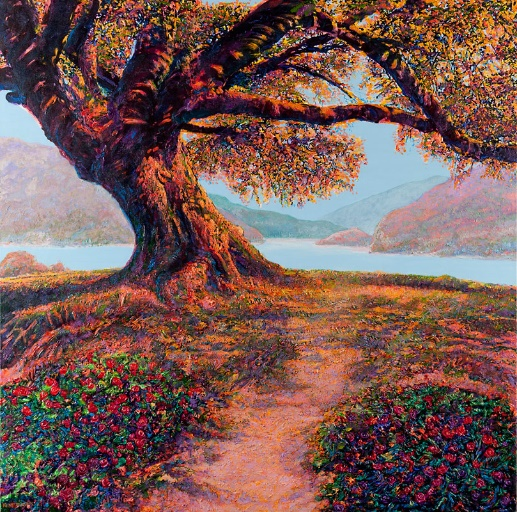 """""""Oak Tree with Lake"""" by Kent Butler, acrylic"""