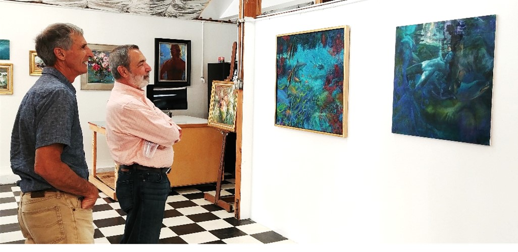 Where Art Begins - John Brant and Sal Santangelo enjoy the work of David Gallup and Nansi Bielanski during a studio visit and open house to benefit FOTM's educational programing July 23, 2017