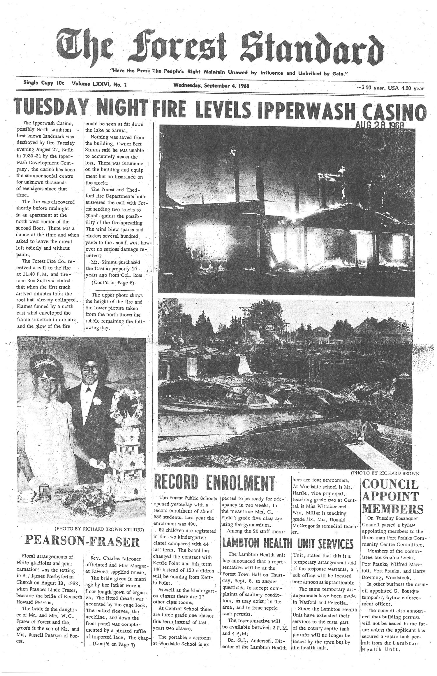 Newspaper - front page Ipperwash Casino Fire