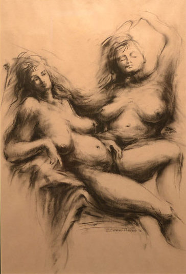 "12. Bettye Callison-Palermo, Languorous Synthesis, charcoal on paper, 20"" x 26"", $150"