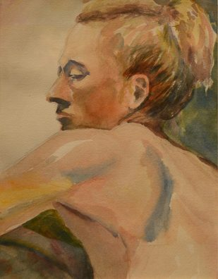 """17. Laura Clay, The Look , Watercolor ,  19"""" x 23"""", $ $100"""