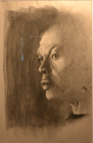 """18. JP Couderc, Untitled Figure Study, charcoal on paper, 19"""" x 27"""", $95"""