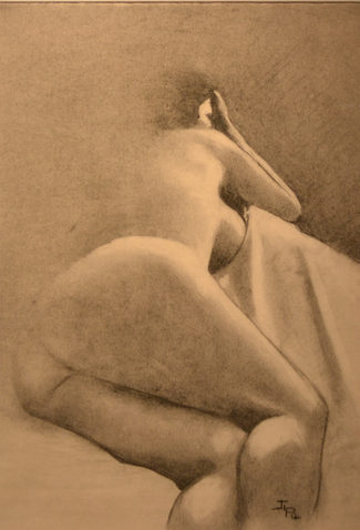 """19. JP Couderc, Woman in Bed—In Charcoal, charcoal on paper, 19"""" x 17"""", $95"""