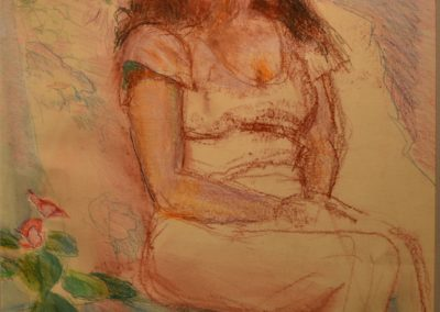 "37. Steve Hill, Seated Woman, mixed media, 20"" x 26"", $400"