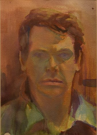 """38. Steve Hill, Portrait of a Young Man, watercolor, 16"""" x 20"""", NFS"""