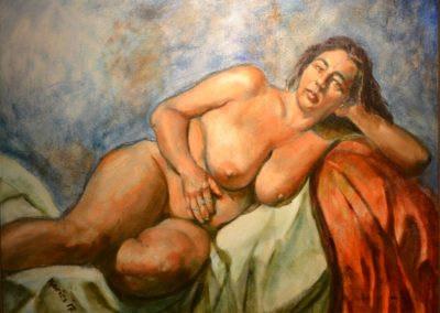 "41. Axel Kairies, Mia in the Pose of Repose, oil on canvas, 24"" x 18"", $600"