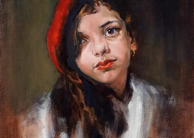 "43. Sasha Latypova, The Red Beret, oil on canvas, 12"" x 16"", Sold"