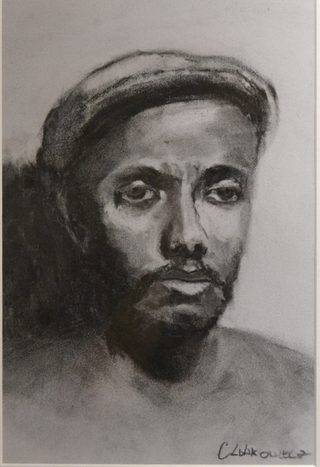 """47. Carolyn Lobkowicz, Charles (portrait), Charcoal on toned paper, 16"""" x 20"""", $275"""