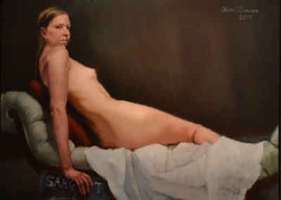 "5.- Alan Brewen, ""Charity"", oil on canvas, 24""x18"", NFS"