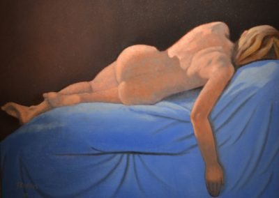 "59. Jim Rodgers, Repose II, oil on canvas, 20"" x 16"", $350"