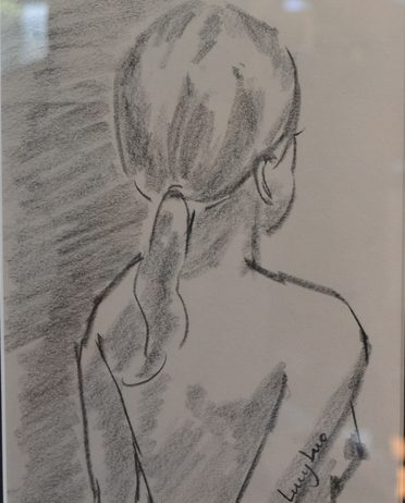 """79. Lucy Luo, Back of Girl, charcoal and graphite, 8"""" x 10"""", Sold"""