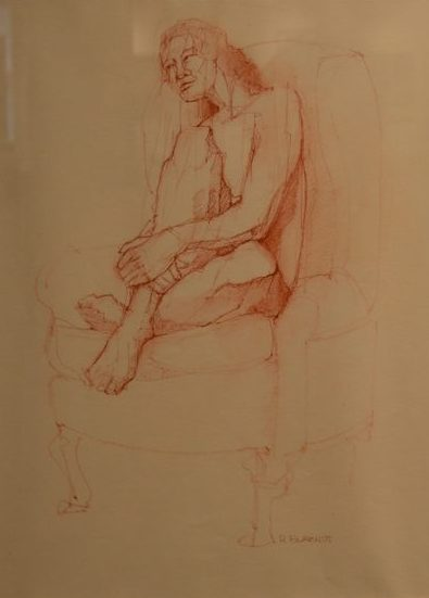 """8. Dick Burandt, Seated figure, pastel and ink on paper, 15.5"""" x 19.5"""", $250"""