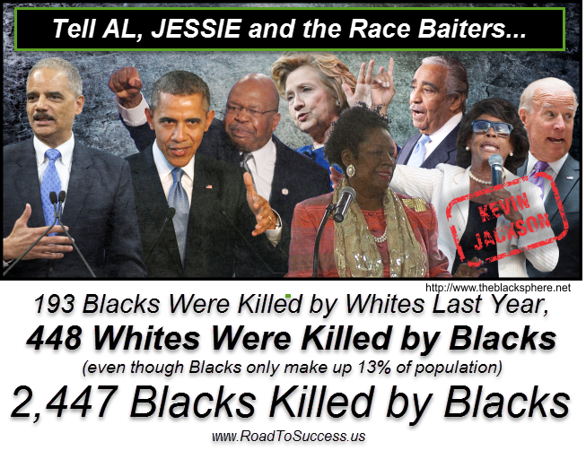more whites killed by blacks than blacks by whites.