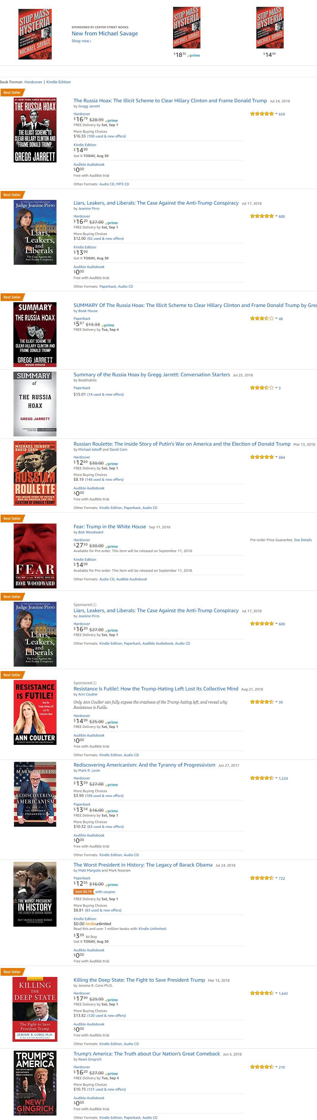 Russia Hoax by gregg jarrett and related top selling Books