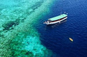 Wakatobi-dive-snorkel-boat-on-nearby-reef.-Courtesy-of-Didi-Lotze-585x389