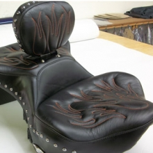 Harley Davidson Seat: All Leather | Red Flame Pattern | Stock Dr. Backrest | Passenger Backrest | Studs Added | RCP Dual Heat