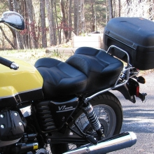Moto Guzzi V7: Dual Black Leather Inserts with Rectangle pattern