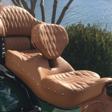Dual all Indian Brown Leather, Small Diamonds with Beaver Stitching, RCP Built-in Drivers backrest and matching Studs