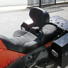 KTM 990Adventure Solo Sunbrella Slate inserts with Rectangle pattern and RCP Built-in Drivers Backrest