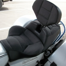 Moto Guzzi California Solo Sunbrella Slate inserts with Rectangle pattern and RCP Built-in Drivers Backrest