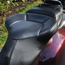 Solo all Black Leather with halfmoon pattern and custom embroidery on passenger backrest