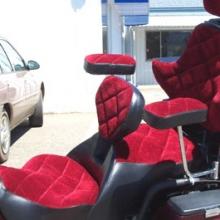 Suzuki Cavalcade: Burgundy Velour Inserts with Black Vinyl trim - Diamond Pattern with RCP Backrest