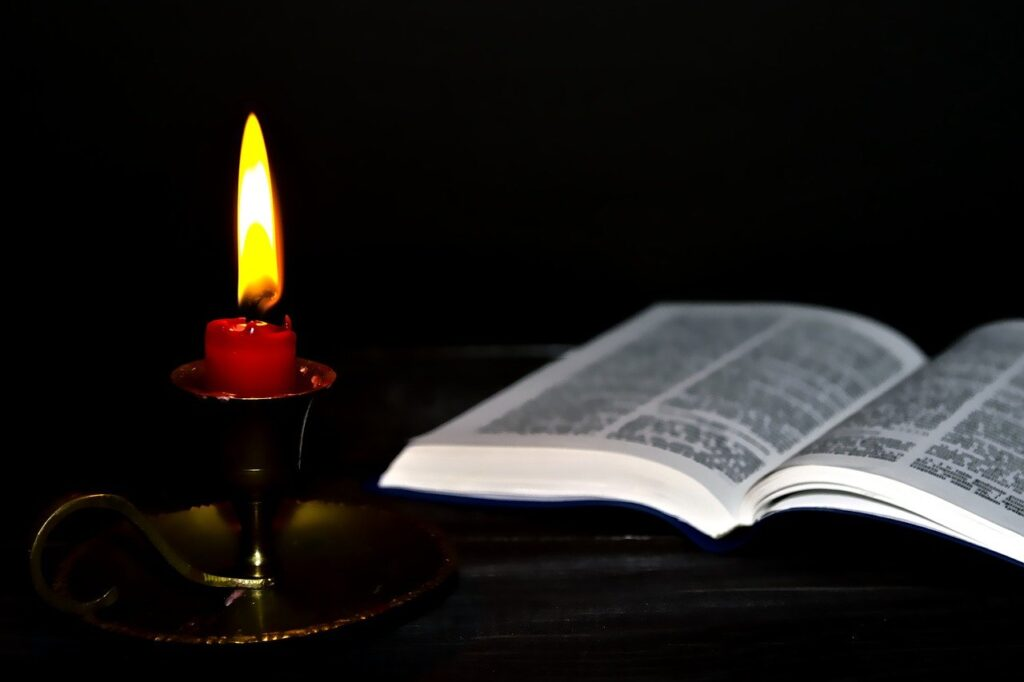 candle holders, bible, light