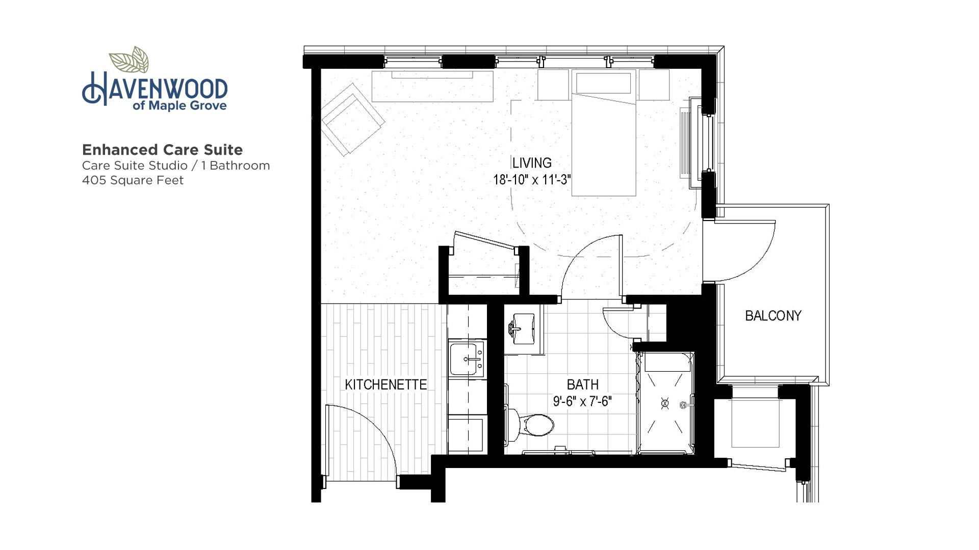 Havenwood of Maple Grove Enhanced Care Suite Floor Plan
