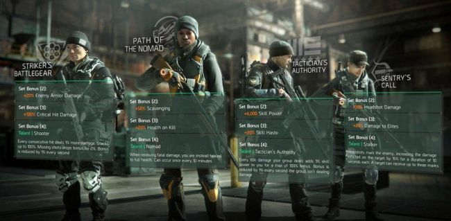 The Division new gear sets