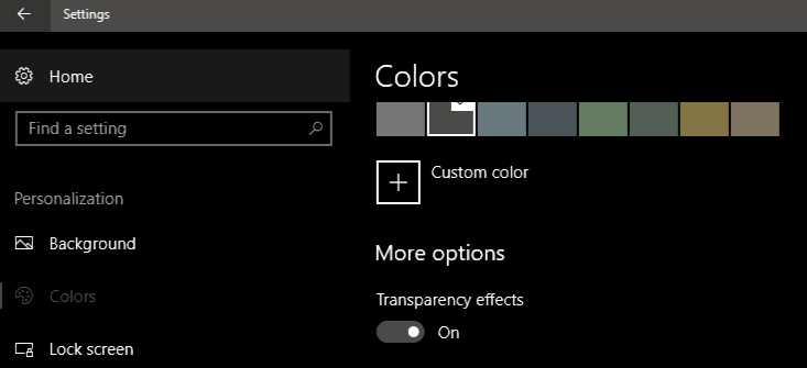 Windows 10 transparent effect
