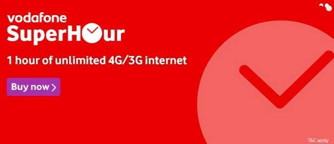 Vodafone's SuperHour unlimited data packs