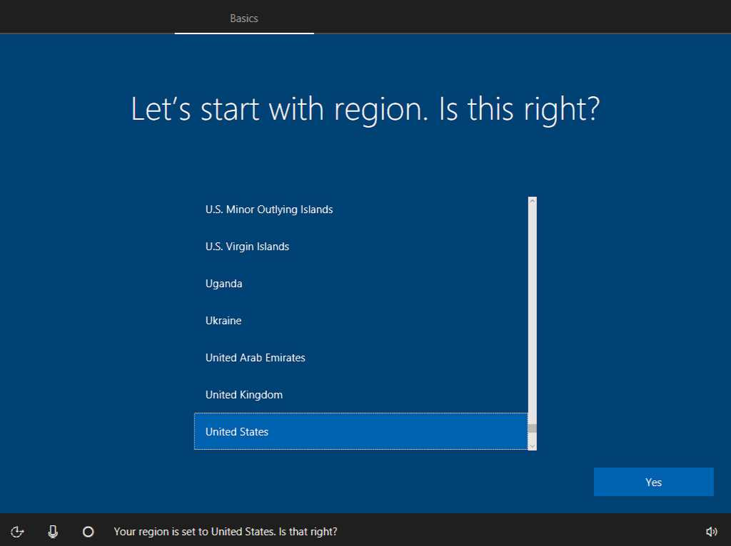 Select region setup screen