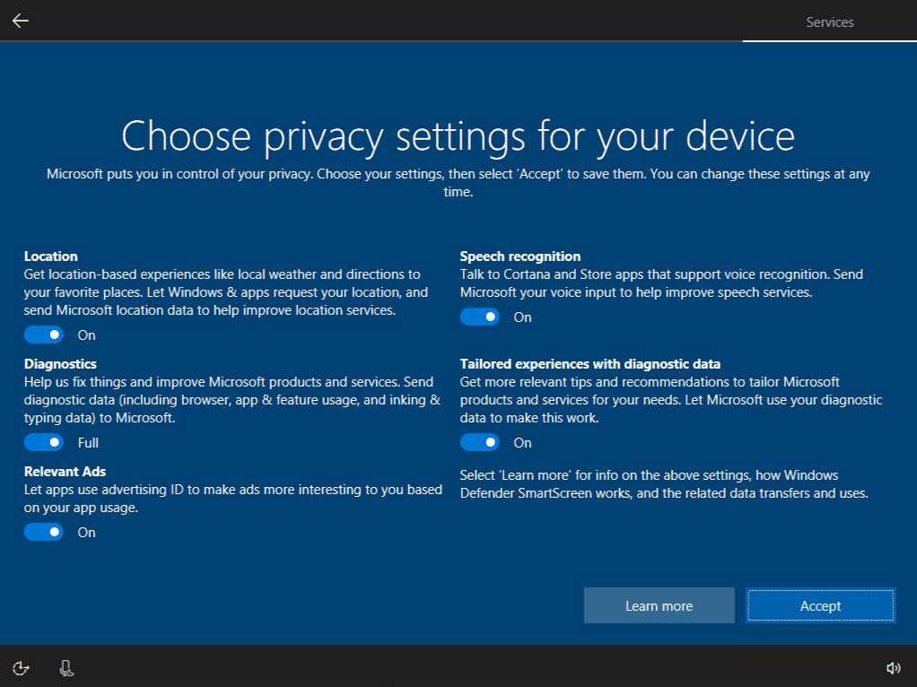 Windows 10 Creators Update privacy settings