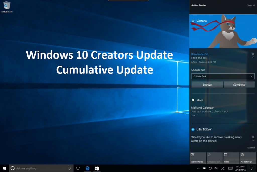Windows 10 Creators Update montly patch
