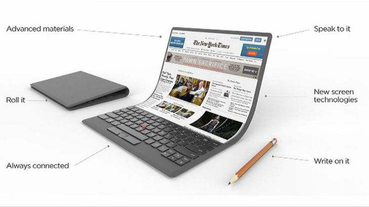 Lenovo laptop concept with a flexible screen
