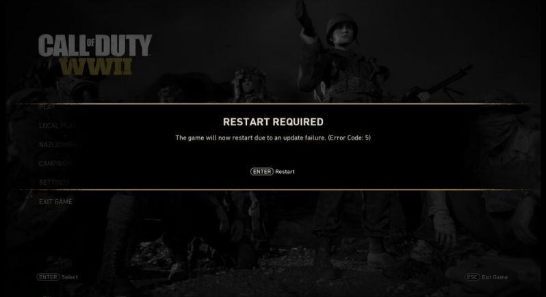 Call of Duty WWII error code 5
