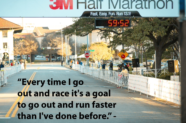 Motivational quote and 3M Half Marathon finish line