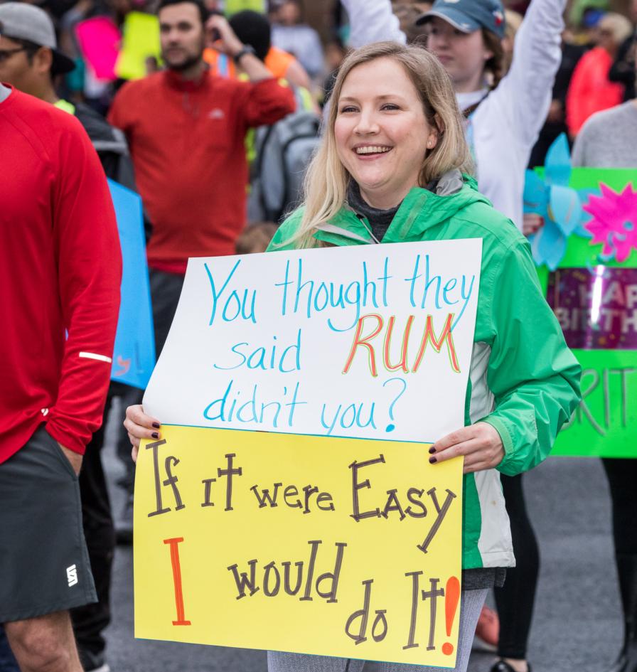 funny running sign for the 3M Half Marathon