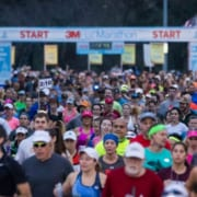 Hundreds of racers starting the 3M Half Marathon