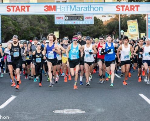 Runners starting race for the 3M Half Marathon