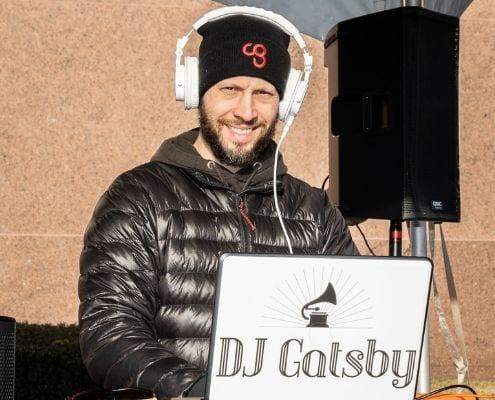 DJ Gatsby provides on-course music at the 2019 3M Half Marathon finish line festival!