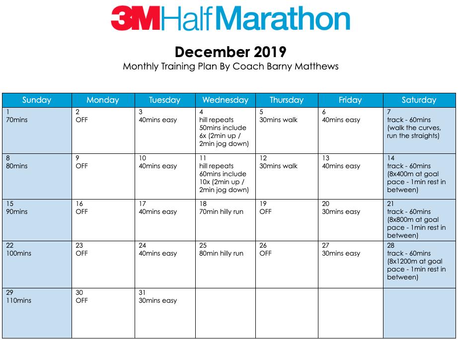 3M Half Marathon training plan for the month of December.