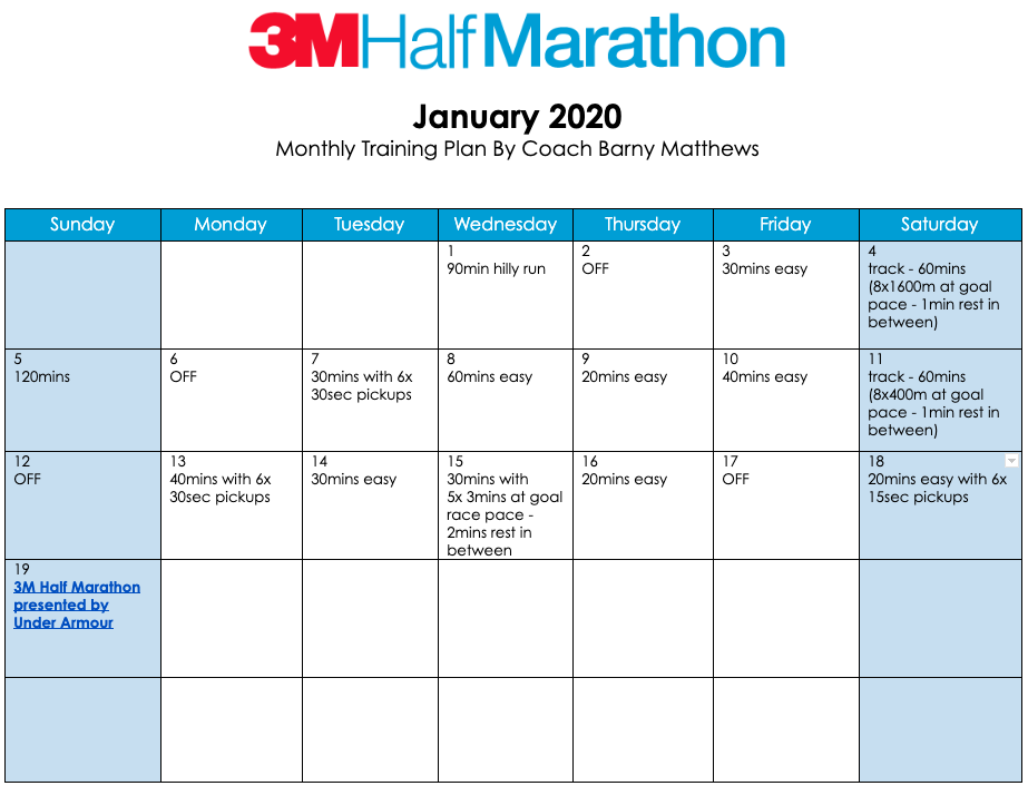 3M Half Marathon training plan for the month of January.