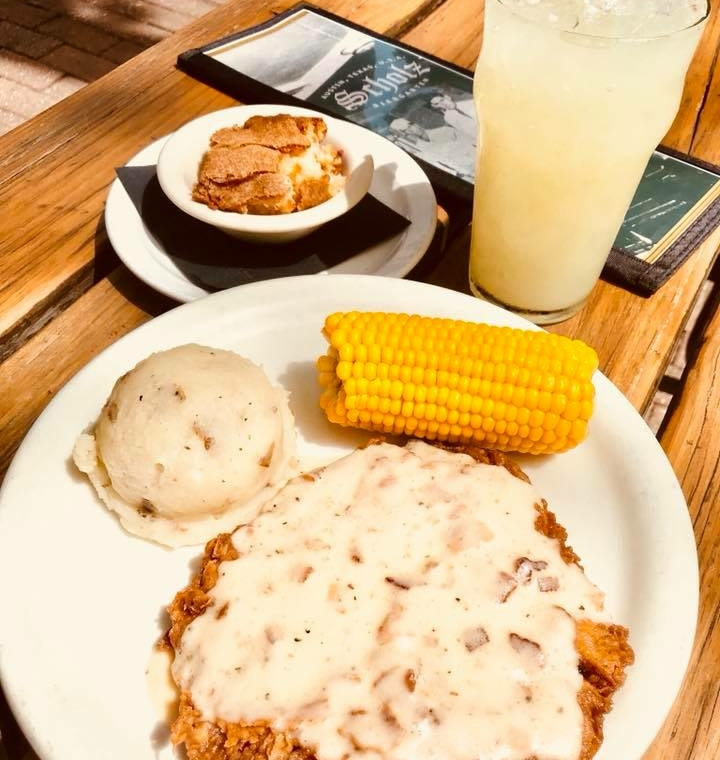 Enjoy the chicken fried steak from Scholz Garten. Get to know Austin when you visit places, like Scholz Garten, along the 3M Half Marathon course.