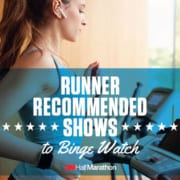 Image of woman running on a treadmill. This image leads to a 3M Half Marathon blog post that shares binge-worthy show recommendations from your fellow runners.