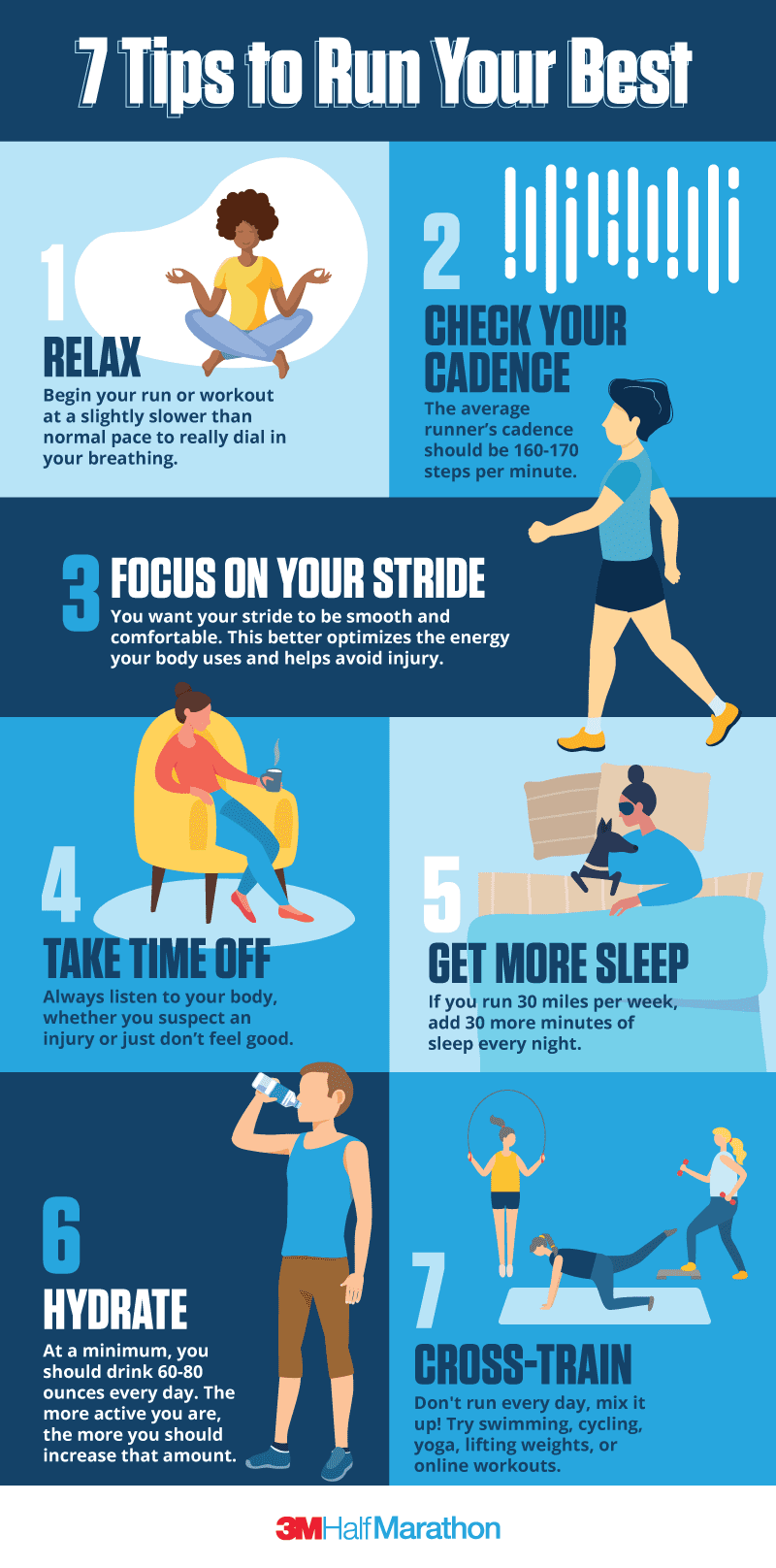 Downloadable infographic highlighting 7 tips you should follow to run your best.